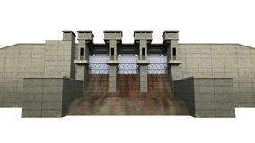 Dam Isolated on White Background. 3D render Stock Photos