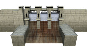 Dam Isolated on White Background. 3D render Royalty Free Stock Photos
