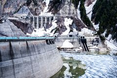 Japan snow mountian's dam. Royalty Free Stock Images