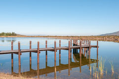 Dam with jetty near Somerset West. In the Western Cape Province of South Africa Stock Images