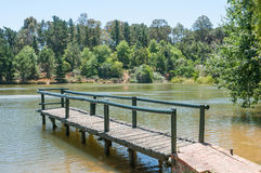 Dam with jetty near Somerset West. In the Western Cape Province of South Africa Royalty Free Stock Images