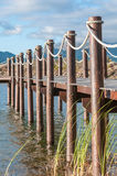 Dam with jetty near Somerset West. In the Western Cape Province of South Africa Stock Photo