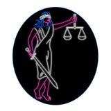 Dam Justice Holding Sword och ovalt neontecken för jämvikt royaltyfri illustrationer