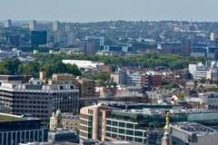 Dam Justice Overlooking London från överkanten av Old Bailey royaltyfri bild