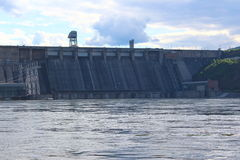 The dam of the Krasnoyarsk hydroelectric power station Royalty Free Stock Image