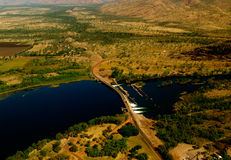 Dam of Kununurra. West Australia with beautiful landscape, taken from above stock photos