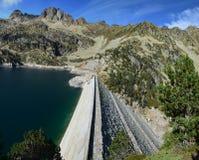 Dam of Lac de Gréziolles, the lake in Hautes-Pyrénées, Pyrén Royalty Free Stock Images