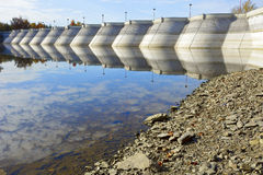 Dam on the lake Stock Photography