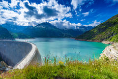 Dam at Lake Emosson near Chamonix (France) and Finhaut (Switzerland).  stock image