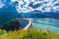 Dam at Lake Emosson near Chamonix (France) and Finhaut (Switzerland).  royalty free stock image