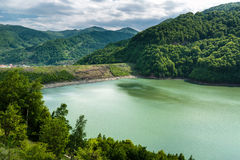 Dam lake between mountains Royalty Free Stock Photography