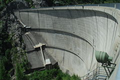 Dam of the lake Neves in Dolomites Royalty Free Stock Photos