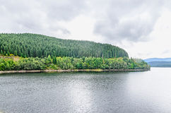 The dam and lake Oasa, river Sebes, pine forests, Sureanu Mounta Royalty Free Stock Images