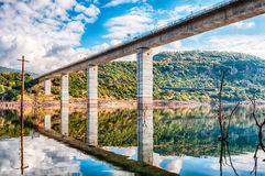 The dam on the lake omodeo. In a sunny afternoon, Sardinia Stock Image