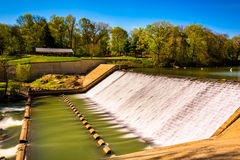 Dam on Lake Roland at Robert E. Lee Memorial Park in Baltimore,. Maryland stock image