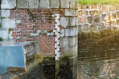 The dam on the lake, the water level in the lake. Controlling the water level to avoid accidents royalty free stock images