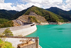 Dam with low water Royalty Free Stock Photo