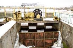 Dam mechanism hold steel snow water winter Stock Images