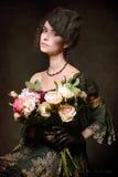 Dam med buketten Royaltyfri Fotografi
