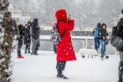 Dam med det röda laget som tar bilder i snöstormen Royaltyfria Bilder