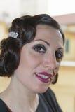 Dam med hår i retro stil Fotografering för Bildbyråer