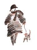 Dam med hunden Royaltyfri Foto