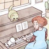 Dam med tatueringen som spelar pianot med hennes kattunge stock illustrationer