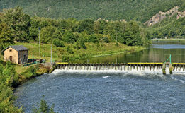 Dam on Meuse river in Ardennes, France Stock Photo