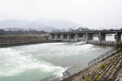 The dam in the Minjiang river Royalty Free Stock Image