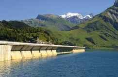 Dam of mountain. Dam of Roselend in mountain, savoy, french alps Stock Photography
