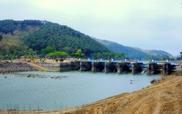 Dam named 'Bendung Gerak Serayu'. Under renovation, located on a Serayu river, Indonesia royalty free stock photos