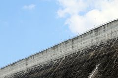 Dam, dam op hemelachtergrond, dammen in Thailand stock fotografie