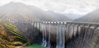 Dam with overflow Stock Photo