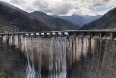 Dam with overflow Stock Image