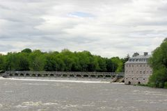 Dam with a pedestrian walkway in Canada Royalty Free Stock Images