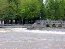 Dam with pedestrian walkway, Quebec, Canada Stock Photo