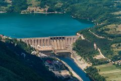 Dam Perucac on a Drina river. Hydroelectric. Perucac, Serbia july 30, 2017: Dam Perucac on a Drina river. Hydroelectric royalty free stock photos