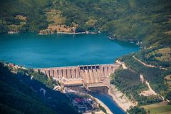 Dam Perucac on a Drina river. Hydroelectric. Perucac, Serbia july 30, 2017: Dam Perucac on a Drina river. Hydroelectric stock photography