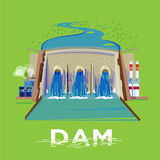 Dam with power station come with typographic for header design -. Illustration Royalty Free Stock Photo