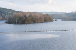Dam reservoir, concrete dam, Royalty Free Stock Photos