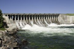 Dam in a river. Dam across a river in Wyoming, conserving natural resources Royalty Free Stock Photography