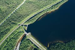 Dam on the River. Aerial View. Hydraulic Engineering Structure Located near Kandalaksha Town in Nothern Russia on River Niva stock photo