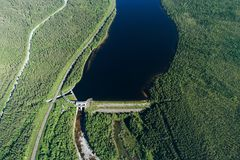 Dam on the River. Aerial View. Hydraulic Engineering Structure Located near Kandalaksha Town in Nothern Russia on River Niva royalty free stock photography