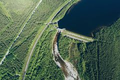Dam on the River. Aerial View. Hydraulic Engineering Structure Located near Kandalaksha Town in Nothern Russia on River Niva stock images