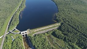 Dam on the River. Aerial View. Hydraulic Engineering Structure Located near Kandalaksha Town in Nothern Russia on River Niva royalty free stock images