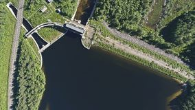 Dam on the River. Aerial View. Hydraulic Engineering Structure Located near Kandalaksha Town in Nothern Russia on River Niva royalty free stock image