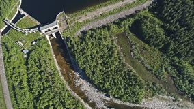 Dam on the River. Aerial View. Hydraulic Engineering Structure Located near Kandalaksha Town in Nothern Russia on River Niva stock photos