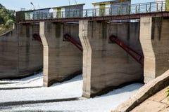 Dam on the river Alatyr. stock photo