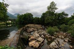 Dam on the river Ason Ramales de la Victoria, Cantabria. Spain Stock Photography