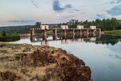 The dam on the river in the evening, the river Iset Kamensk-Ural`skiy. Russia Royalty Free Stock Image